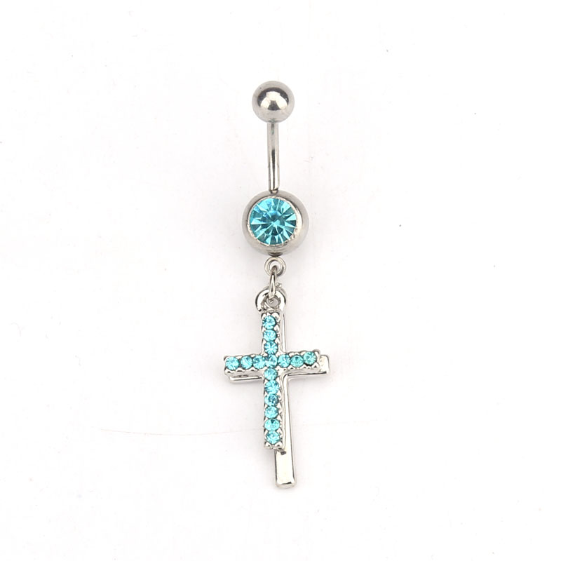 Us 2 09 30 Off Cross Medical Steel Crystal Belly Button Ring Dangle Navel Body Jewelry Piercings Tassel Red And Blue In Body Jewelry From Jewelry
