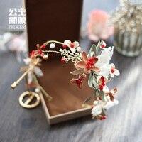 Sen ligne féminine dentelle fleur mariée Bijoux de mariage Bandeau Diadème cheveux anneau doux bande de cheveux