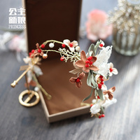 Sen Female Line Lace Flower Bride Wedding Wedding Wedding Jewelry Headband Tiara Hair Ring Sweet Hair