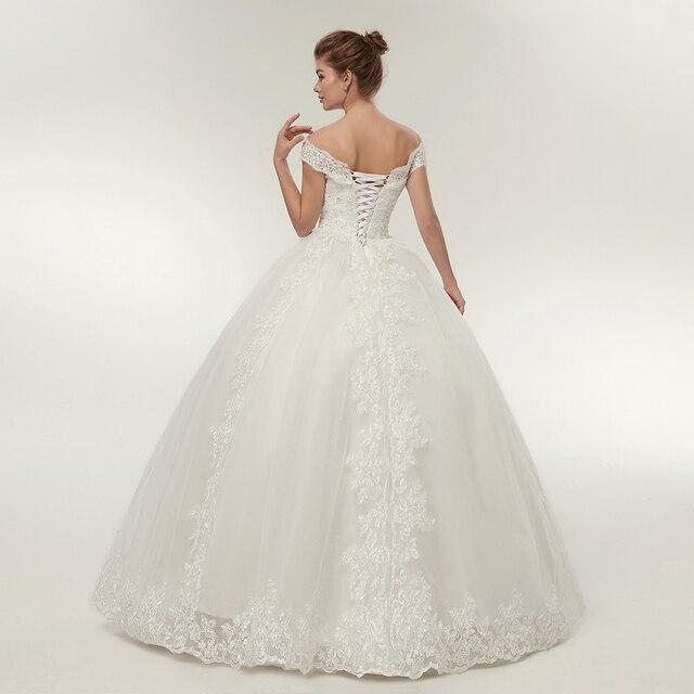 Fansmile Korean Lace Applique Ball Gowns Wedding Dresses 2020 Plus Size Bridal Dress Princess Wedding Gown Real Photo FSM-003F 3