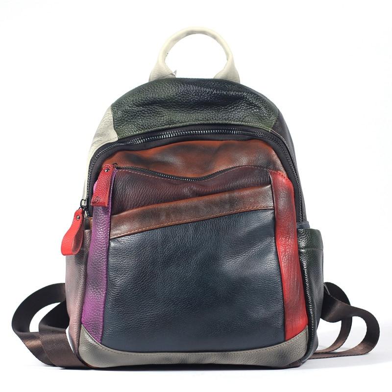 Genuine Leather Backpack In Womens Casual Daypacks Vintage Bagpack Travel Back Pack Luxury Handmade Bag Mochila Feminina 2019Genuine Leather Backpack In Womens Casual Daypacks Vintage Bagpack Travel Back Pack Luxury Handmade Bag Mochila Feminina 2019