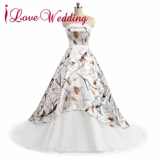 Us 111 99 20 Off Ilovewedding Baljurk Wit Camo Trouwjurken Strapless Mouwloos Lace Up Camouflage Applicaties Bruid Bruidsjurken Custom In