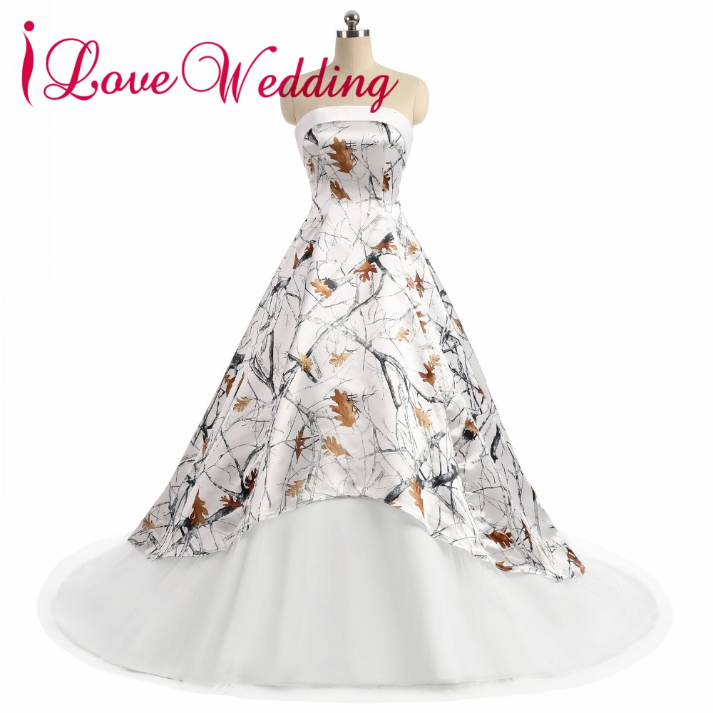 Ilovewedding Ball Gown White Camo Wedding Dresses Strapless Sleeveless Lace Up Camouflage Appliques Bride Bridal Gowns Custom Good For Antipyretic And Throat Soother