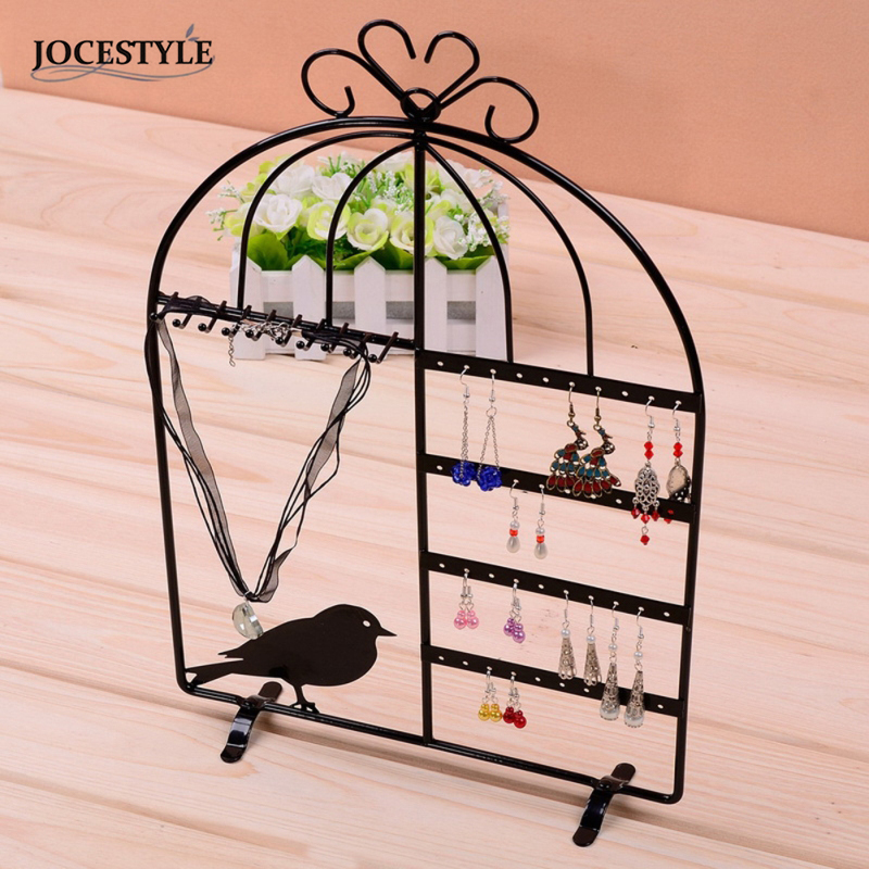 Iron Wall Jewelry Earring Organizer Hanging Holder Necklace Display Stand Rack Red White Pink Cute Bird