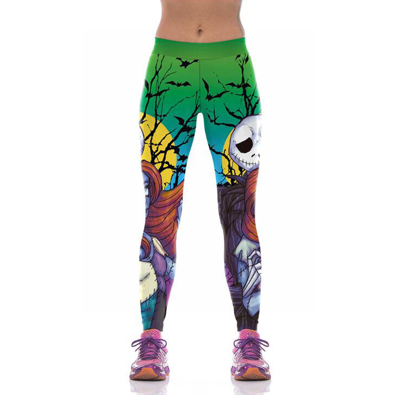 Halloween Jack Skellington Leggings Women The Nightmare Before Christmas Workout Pants 3D Print Fitness Leggins Sportlegging