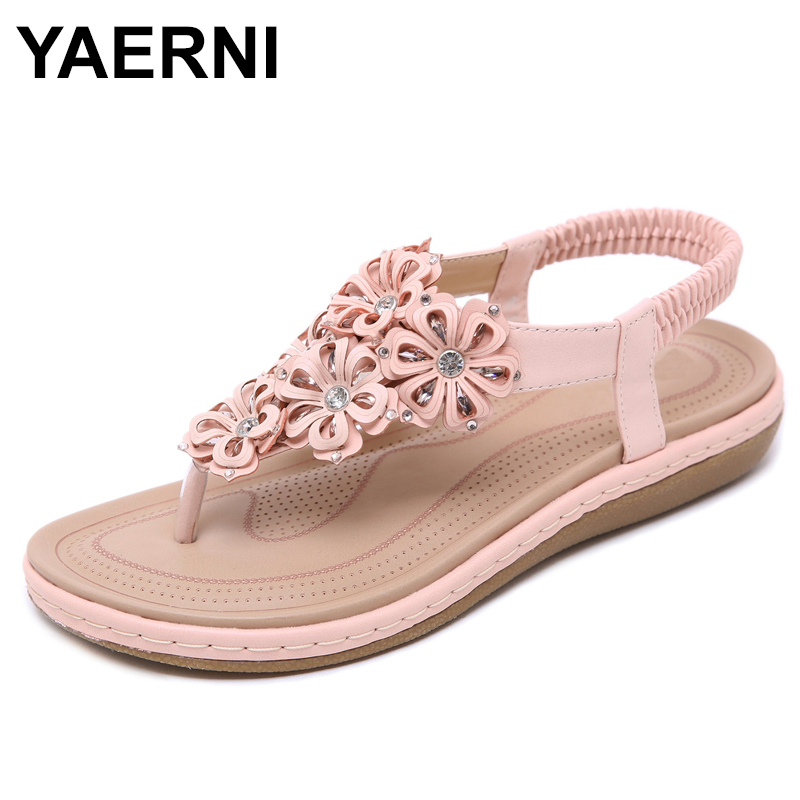 Flat Sandals Flower Crystal Flop Shoes Woman Flip Yaernisummer Gladiator Bohemia Casual