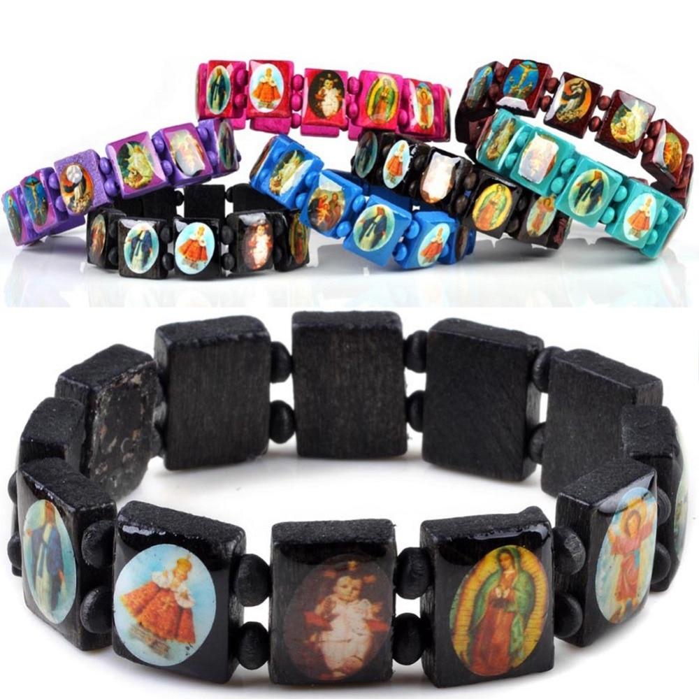 7 Colors Fashion Stretch Wooden Jesus Bracelet Wood Saints
