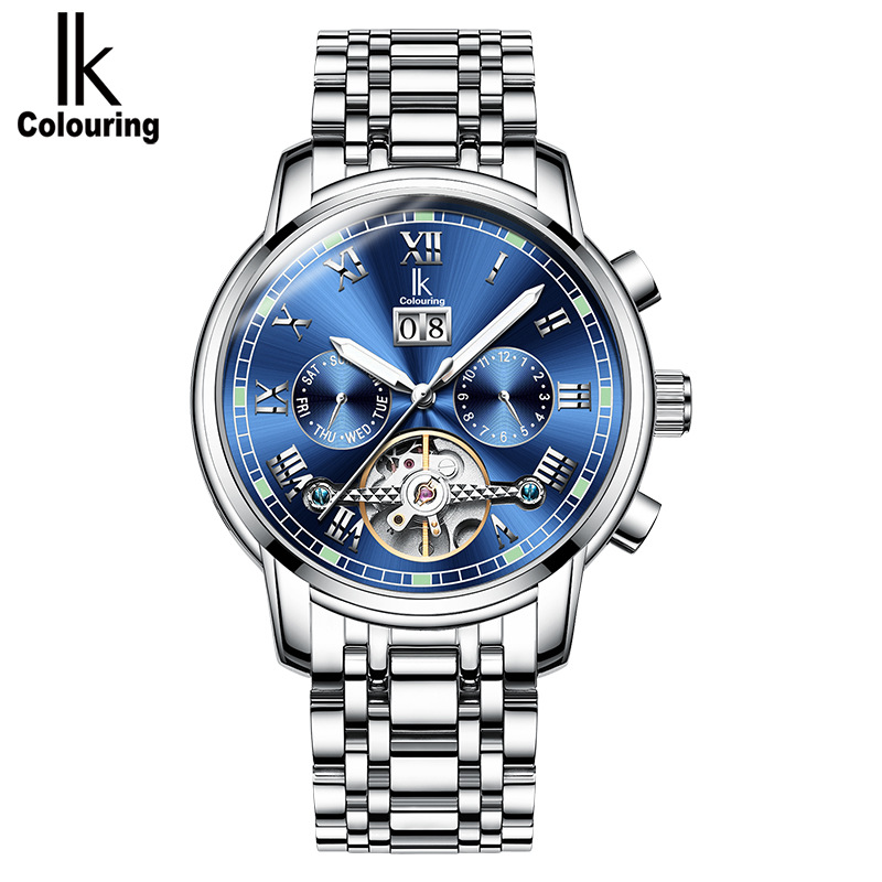 IK Automatic mechanical watch student male watch calendar Tourbillon fashion men 's luminous waterproof watch цена