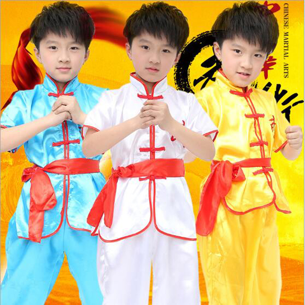 Bazzery Children Martial Art Training & Perform Clothes Unisex Short Sleeve Chinese Kungfu Costume Kids Stage Wear Tops & Pants