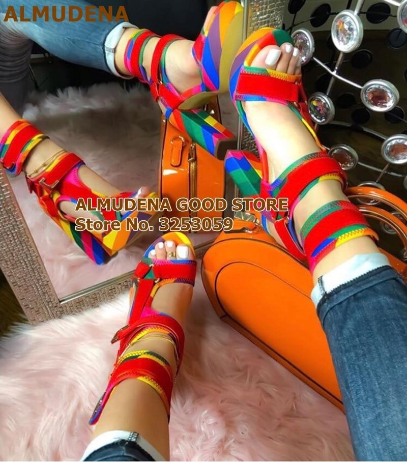 ALMUDENA Newest Rainbow Stripe Color Patchwork Chunky Heel Platform Sandals Metal Decoration Buckle Strap Wedding Shoes Dropship