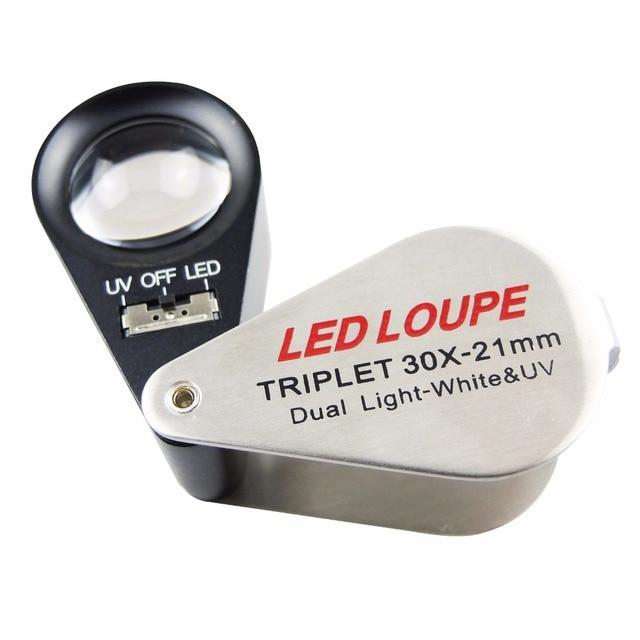 Draagbare Handheld 30x21mm Triplet Loupe Juwelier Loep Vergrootglas ...