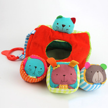 fun cognition gift plush educational multifunctional hang circle triangle bed hanging puzzle cube ring paper kids soft baby toy