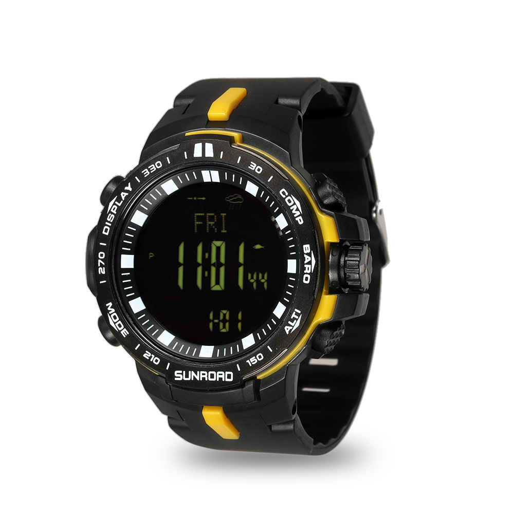 Strong Resistance To Heat And Hard Wearing yellow Sunroad Outdoor Sports Digital Men Watch-stopwatch Waterproof Altimeter Barometer Compass Pedometer Watches Clock Men
