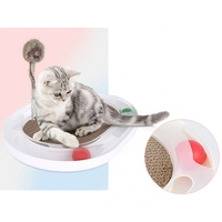 Durable Plastic Playing Board Cat Scratch Board with Mouset Toy and Track Rolling Ball