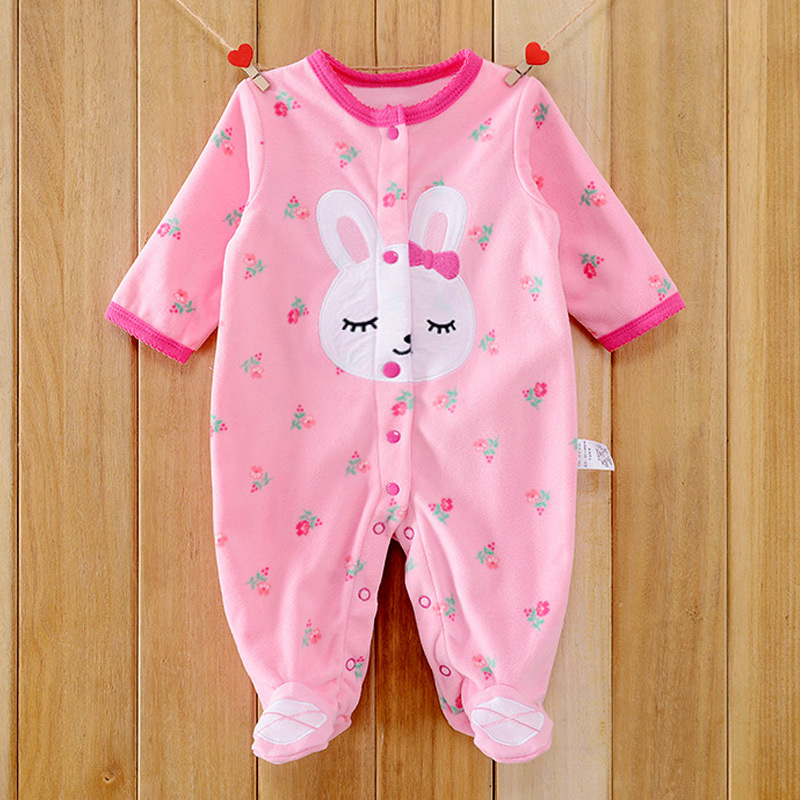 9ab94c7d246a Rabbit 0-12M Autumn Fleece Baby Rompers Cute Pink Baby Girl Boy Clothing  Infant Baby Girl Clothes Jumpsuits Footed Coverall