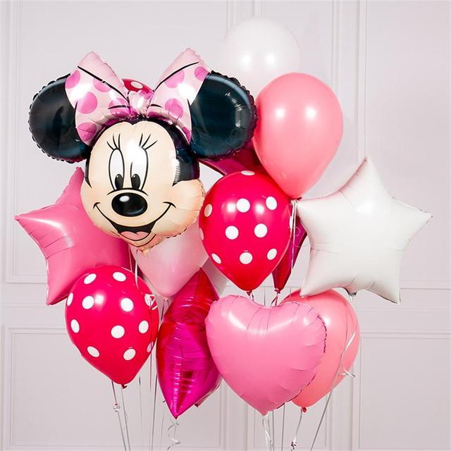 10 pcs mickey minnie chuột 18 inch sao Bóng Bay Heli Lá hạnh phúc sinh nhật trang trí bóng Bé Tắm 1th sinh nhật globos