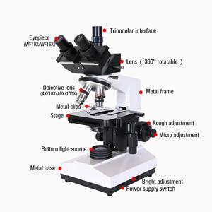 Image 5 - Professional Lab biological HD trinocular microscope zoom 1600X eyepiece electronic digital 7 inch LCD led Light phone stand USB