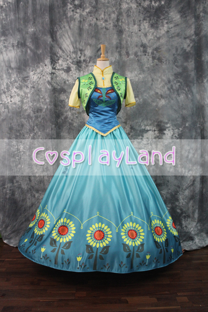 Princess Anna Cosplay Costume Fever Party Dresses for Adult Women Halloween Party Cosplay Costume Print Dress Princess Dress