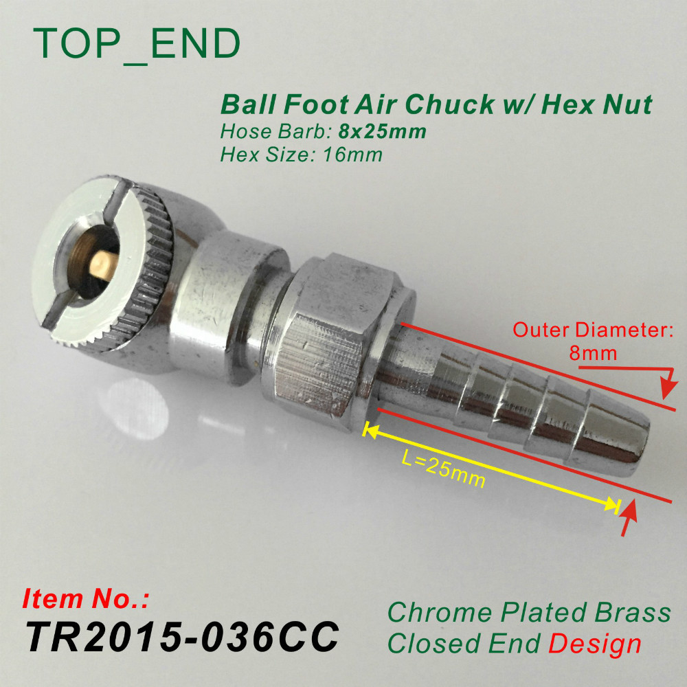 8x25mm Hose Barb,Ball Foot Air Chuck W/ Hex Nut,Closed End Design,Chrome Plated Brass,Tire/Tyre Inflator Gauge Fitting