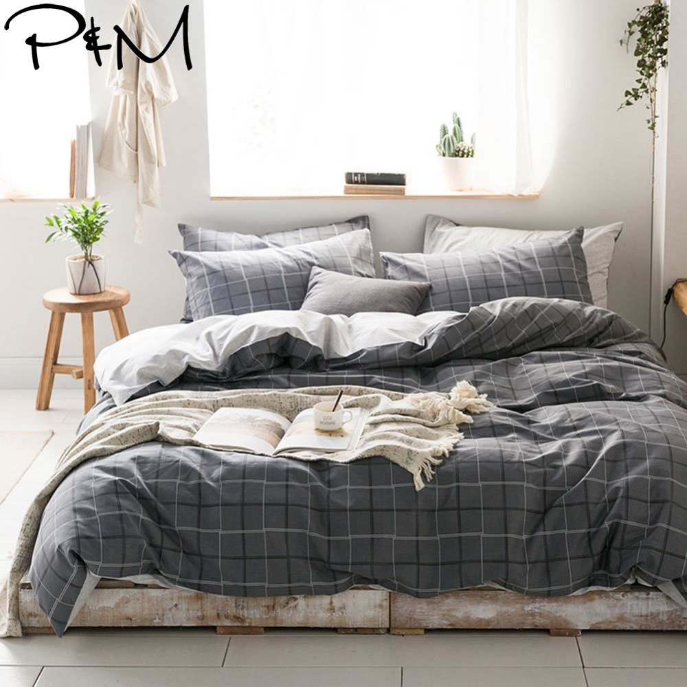 2019 PAPA&MIMA Dark Grey Plaids Lines Bedlinens Twin Queen King Size Cotton Duvet Cover Set Pillowcases 3/4pcs Bedding Set2019 PAPA&MIMA Dark Grey Plaids Lines Bedlinens Twin Queen King Size Cotton Duvet Cover Set Pillowcases 3/4pcs Bedding Set