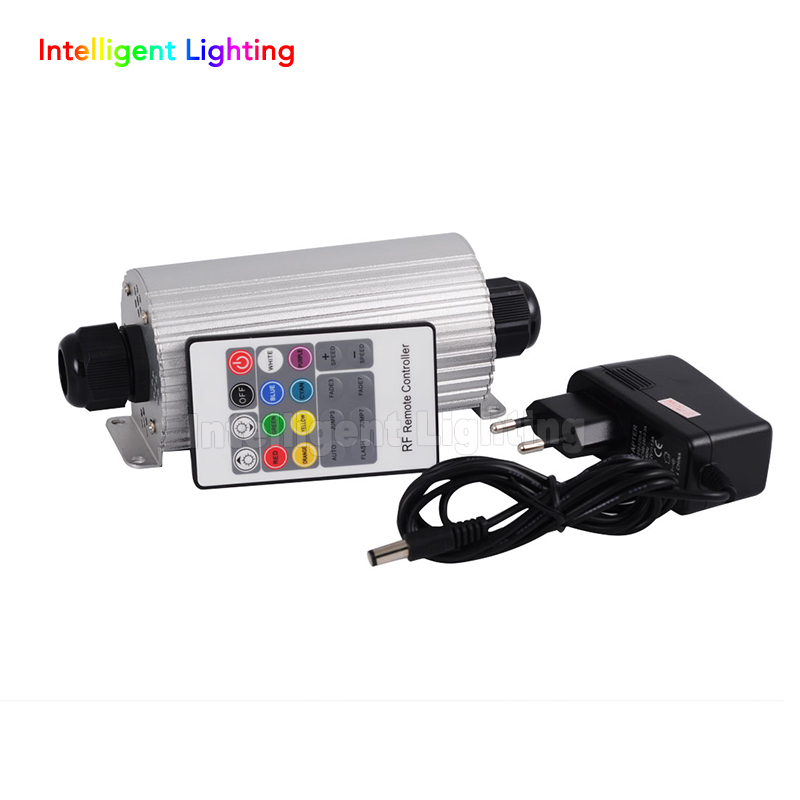 RGB 20W LED Fiber Optic Engine Driver double heads on both sides +20key RF Remote controller for all kinds fiber optics rgb 45w led fiber optic engine 20key rf remote controller can be fixed in 8 colors six color change mode with flicker effect