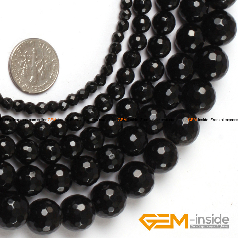 """Natural Stone Black Agates Round Beads For Jewelry Making Strand 15""""DIY Fashion Loose Beads 4mm 6mm 8mm 10mm 12mm Selectable"""