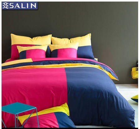 Pink Yellow Green Blue Red White Bedding Comforter Set King Queen Size Bedspread Duvet Cover Bed In A Bag Sheet Brand Cotton