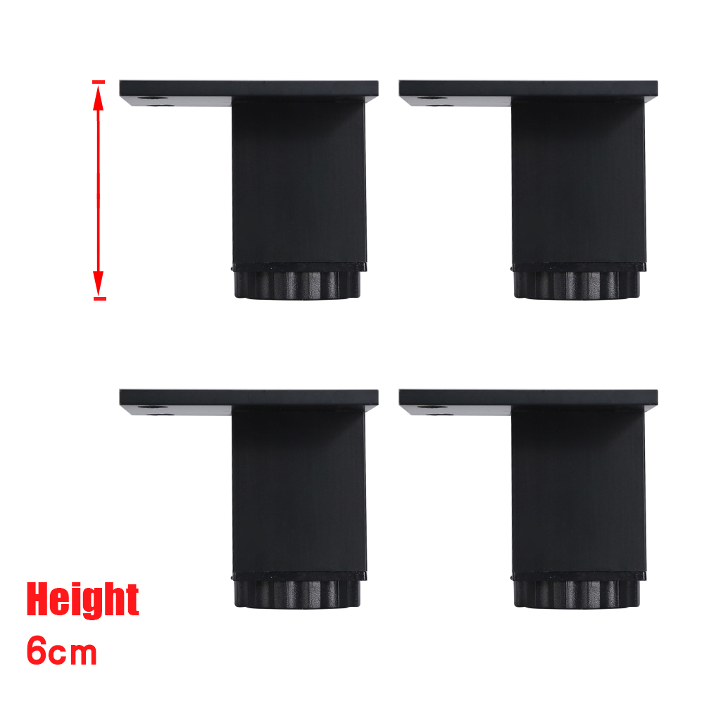 60x38MM Aluminum Alloy Legs Black Rectangle Height Adjustable Furniture Feet Cabinet Table Legs