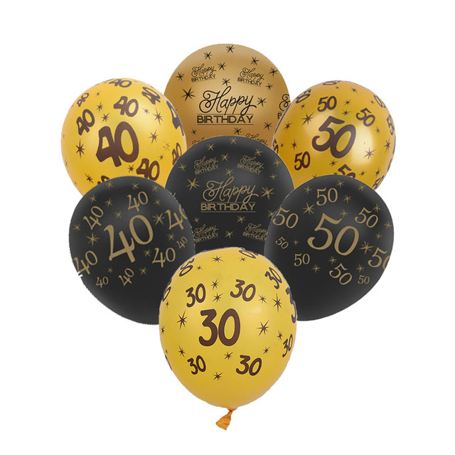 10pcs Lot Black Gold 30th 40th 50th Birthday Party Decorations Pearlised Latex Balloons Forty Birth