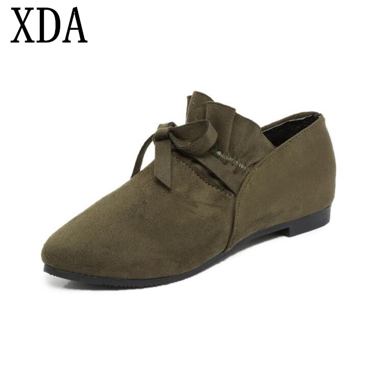 XDA 2018 Sweet Lady Fashion Woman Shoes Bowknot Pointed Toe Flats Shoes casual Shoes Simple work loafers shoes