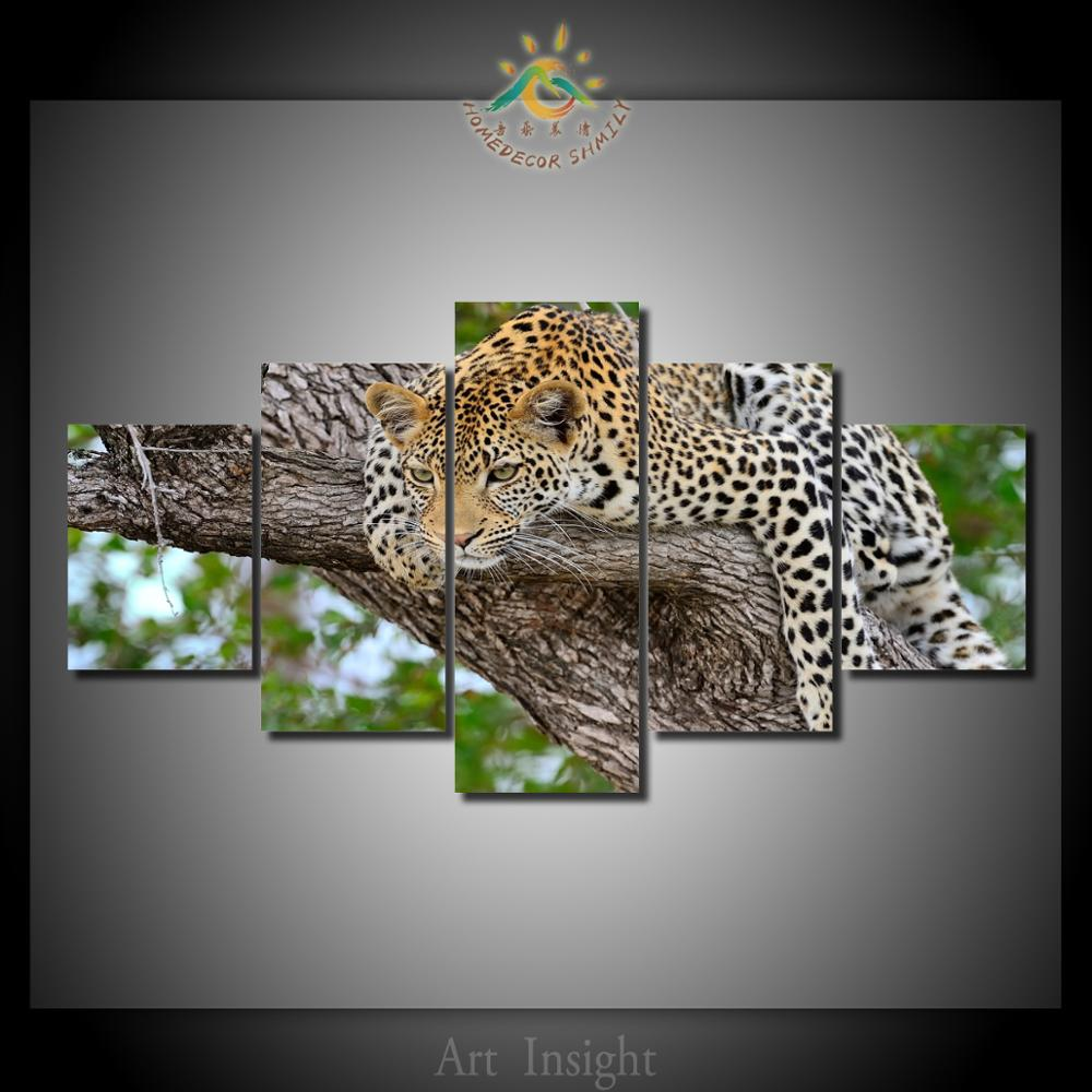5 Pieces Set Cheetah In The Tree Wall Art Decor Painting Canvas Art Hd Print Painting Canvas Wall Picture For Home Decoration