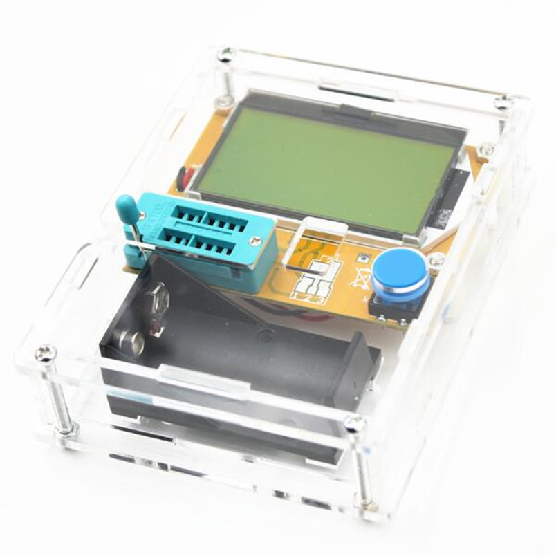 Free Register Shipping LCD Multimeter LCR-T4 ESR Meter Mega328 Transistor Tester For DIY Electronic Kit With Acrylic Case