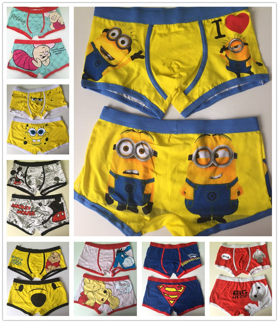Free shipping 10 pcs/lot High quality 100% cotton cartoon men's Boxer / men underwear (Mix 24 Styles) Lovely&Sexy