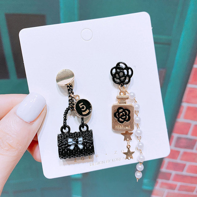 Simple Letter Five Earring Bag Flower Dangle Flower Tassel Earrings