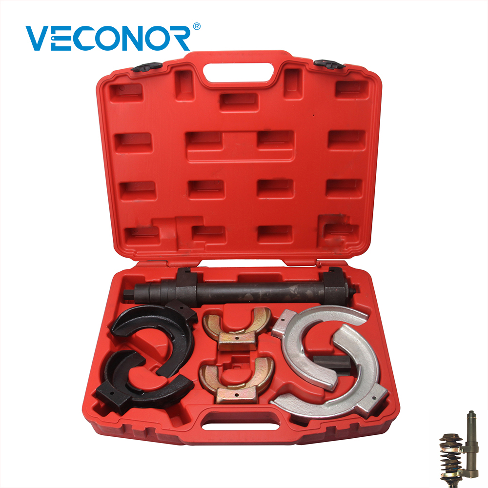 все цены на Interchangable Monoblock Forks Strut Coil Spring Compressor Extractor Tool Set For Modern Macpherson Suspension онлайн