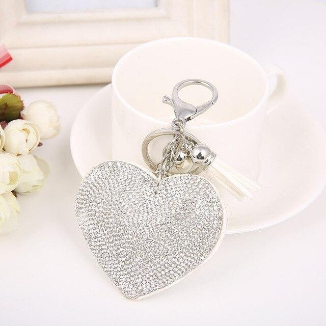 Cute Love Heart Pendant Keychains for Women Girl Romantic Rhinestone Velvet Leather  Key Ring with Tassel Chaveiro Accessories 09e80664e