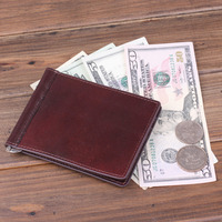 Holiday Selling 2016 Fashion Wallet Holder Men Women Genuine Italy Vegetable Tanned Leather Money Clips Bag