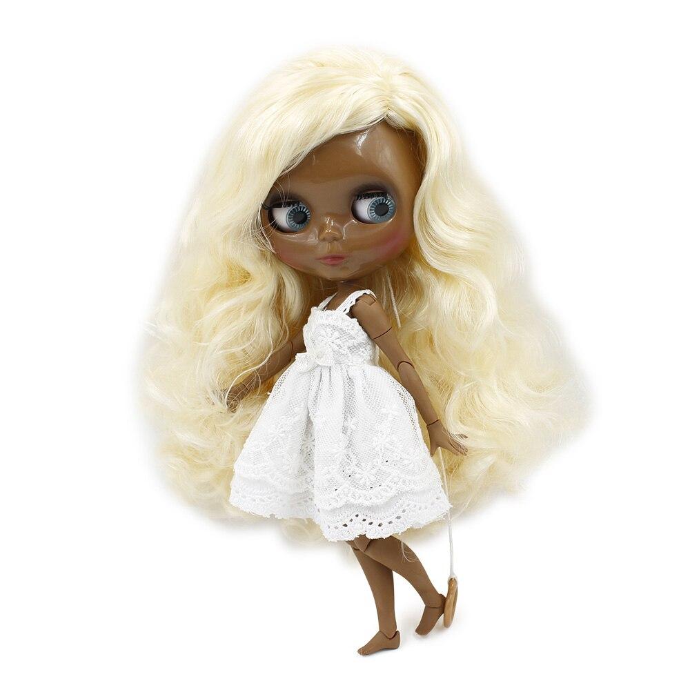 Blyth doll Darkest skin 1 6 super black tone blond hair curly hair JOINT body 280BL313
