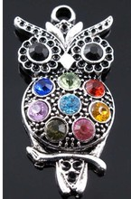 Wholesale Fashion Vintage Silver Full Crystal Gem Rhinestone Owl Alloy Charms Pendant DIY Jewelry Accessories 10pcs Z1147