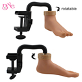 Plástico práctica movable formación maniquí pie modelo pies falsas uñas de acrílico arte diy herramienta de la manicura con soporte del sostenedor flexible