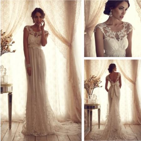 Online Shop Vintage Lace Wedding Dresses Women Open Back Short Sleeve Bridal Gowns Vestidos De Novias Tull