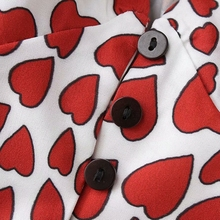 Long sleeve crop top womens tops and blouses heart print tunic buttons women shirts fashion clothing vintage streetwear