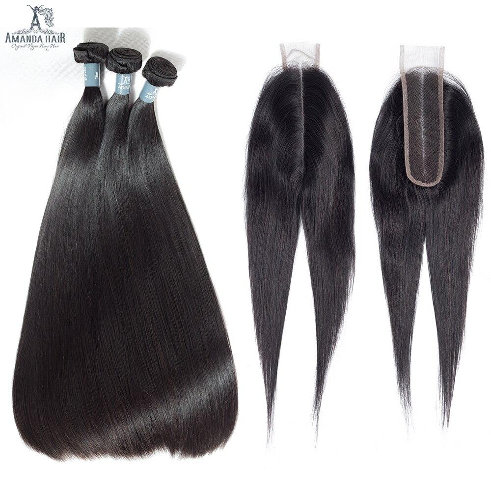 Amanda Malaysische Gerade Haarbündel Mit Spitze Schließung Doppelschuß 100% Remy Menschenhaar 3 Bundles Mit Verschluss Natürliche Farbe Haarverlängerung Und Perücken