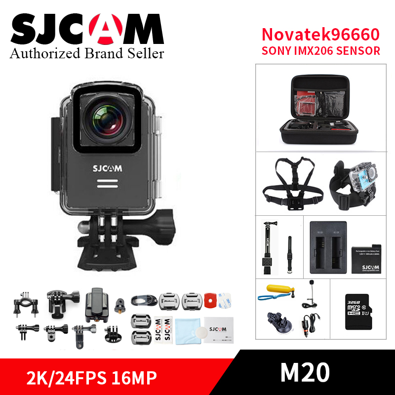 SJCAM M20 Gyro 2K HD 16MP wifi Action Camera Remote control Diving 30M Waterproof Sports helmet Camera Mini DVR Cam + accessory ntk96660 sjcam m20 wifi gyro sport action camera hd 2160p 16mp imx 206 bluetooth watch self timer lever remote control raw cam