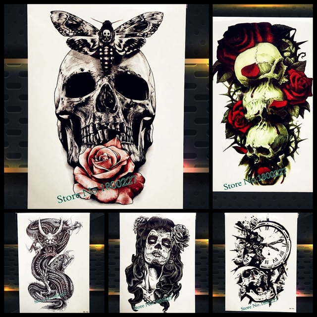 Black Spray Fake Temporary Tattoo Skull Body ART Arm Sleeve Tattoo Death Skull Tattoo Removable Health Fragments Tatoo 21x15CM