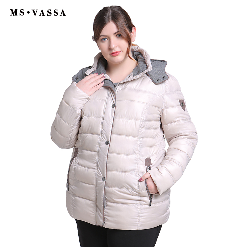 MS VASSA Women 2018 New High Quality Jackets Winter Spring Ladies Coats Fashion Big Size Parkas Turn Down Plus Size 6XL 7XL  1