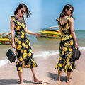 Womens Brand Bodycon Dresses New Vintage 2016 Spring Summer Office Yellow Floral Pencil Midi Dress
