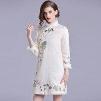 2018 осень зима вышивка платье Чонсам Для женщин Высокое качество китайский Стиль воротник стойка элегантное платье