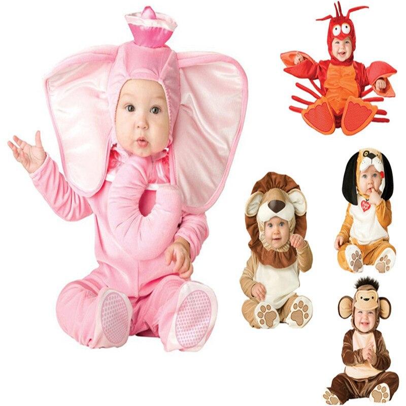 New Arrival Jumpsuit Elephant Monkey Lion Owl Elf Pink Doggy Penguins Leotard Romper Infant Costumes Baby Costumes Baby Onesie