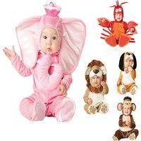 New Arrival Jumpsuit Elephant Monkey Lion Owl Elf Pink Horses Penguins Leotard Romper Infant Costumes Baby